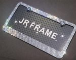 JR2 Popular Bling 7 Row White/Clear Color Crystal Metal Chrome License Plate Frame With Screw Cap