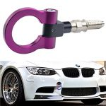 Dewhel JDM Aluminum Track Racing Front Rear Bumper Car Accessories Auto Trailer Ring Towing Tow Hook Kit Purple Screw On For BMW 1 3 5 Series X5 X6 E36 E39 E46 E82 E90 E91 E92 E93 E70 E71 MINI Cooper