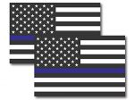 Thin Blue Line American Flag Magnet Decal – Heavy Duty for Car Truck SUV 2 PK – In Support of Police and Law Enforcement Officers