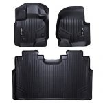 MAXFLOORMAT Floor Mats for Ford F-150 SuperCrew With Front Bucket Seats (2015-2017) Complete Set (Black)
