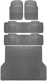 OxGord 5pc Rear Set Diamond Rubber Floor Mats, Universal Fit Mat for SUVs Vans- Rear Driver Passenger Side, Rear Runners and Trunk Liner Gray