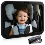 Premium Baby Mirror by FORTEM – Car Rear View Backseat Mirror For Babies and Toddlers in Baby Car Seats – Wide Angle w/ Shatterproof Glass – CRASH TESTED for SAFETY