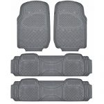 BDK Heavy Duty VAN SUV Rubber Floor Mats – 4 Pieces 3 Rows Full Set- All Weather Trimmable Mat (Gray)