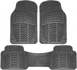 OxGord Universal Fit 3-Piece Full Set Ridged Heavy Duty Rubber Floor Mat – (Gray)