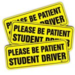 "Zone Tech ""Please Be Patient Student Driver"" Vehicle Bumper Magnet – 3-Pack Premium Quality Neon ""Please Be Patient Student Driver"" Safety Sign Bumper Magnet"