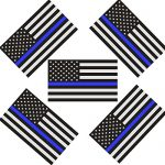 Reflective US Flag Decal Packs with Thin Blue Line for Cars & Trucks, 5 x 3 inch American USA Flag Decal Sticker Honoring Police Law Enforcement 3M Vinyl Window Bumper Tape (5-PACK)
