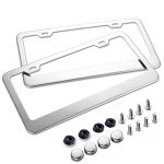 Car License Plate Frame – Chrome Stainless Steel Polish Mirror Covers with Screws Fasteners & Screw Caps (2 Pack-Sliver)