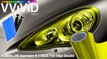 VViViD Extra-Wide Headlight Taillight Vinyl Tint Wrap 16″ x 48″ Roll Including 3M Blue Squeegee & 2x Black Felt Edge Decals (Bright Yellow)