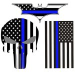 Bundle Reflective Thin Blue line Stickers – Thin Blue Line US Flag, Punisher Skull, Dark Night Decals Stickers, American USA Flag Vinyl Stickers Honoring Police Law Enforcement