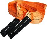 Heavy Duty Recovery Strap | For Off-Road Recovery and Towing | By Titan Auto (2.5″ x 20′ 25K LBS, Orange & Black)