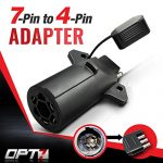 OPT7 Weatherproof 7 Way Round to 4 Way Flat Pin Adapter w/ Secure Tab – For Trailer Tow Hitch and Redline Tailgate LED