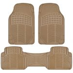 BDK Car SUV and Van Floor Rubber Mats – 3 Rows 4 Pieces, Heavy Duty All Weather Protection (Beige)
