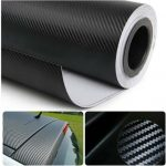 "Moyishi 3D Black Carbon Fiber Film Twill Weave Vinyl Sheet Roll Wrap – 24""x60"""