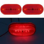Partsam 1 Pair of Red Oblong Clearance/Side Marker light w/ White Base For Camper Boat(Pack of 2 pcs)