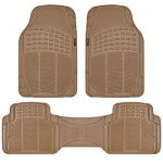 Motor Trend FlexTough Rubber Floor Mats for Car & SUV – 100% Odorless & All Weather Heavy Duty (Tan Beige)