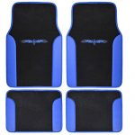 BDK A Set of 4 Universal Fit Plush Carpet with Vinyl Trim Floor Mats For Cars Truck SUV – Universal Fit (Blue)