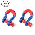 Shackles 3/4″ (2 PACK) RETECK D ring Shackle Rugged 4.75 Ton (9,500 Lbs) Capacity Bow Screw Heavy Duty D Ring for Jeep Vehicle Recovery with Isolator, Blue + Red Pin