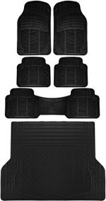 OxGord 6pc Full Set Ridged Rubber Floor Mats, Universal Fit Mat for SUVs Vans- Front Rear, Driver Passenger Seat, Rear Runner, and Trunk Liner Black