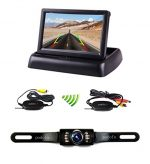 Podofo 4.3″ Foldable Car TFT LCD Monitor Wireless Backup Camera License Plate Reverse Rear View Parking System Set