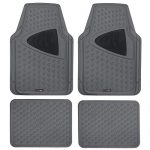 Motor Trend Eco-Clen Car Rubber Floor Mats – 100% Odorless, 2 Tone Color, Trimmable Fit, 4 Piece Set (Gray)