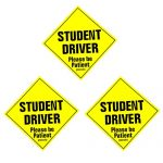 "Set of 3 ""Please Be Patient Student Driver"" Safety Sign Vehicle Bumper Magnet – Reflective Vehicle Car Sign Sticker Bumper for New Drivers (3 PACKS)"