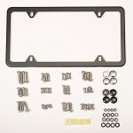 License Plate Frame Matte Black 4 Hole – Stainless Steel with Universal Plate Frame Screws and Bolts Kit, Warranted
