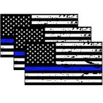 3 Pack Reflective Tattered Thin Blue Line US Flag Decal Stickers for Cars & Trucks, 5 x 2.7 inch American USA Flag Decal Sticker Honoring Police Law Enforcement Vinyl Window Bumper Tape