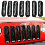 Topist 7pcs Black Front Grill Mesh Grille Insert Kit For Jeep Wrangler Rubicon Sahara Jk 2007-2015