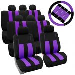 FH GROUP FH-FB036128 + FH GROUP FH2033 Three Row Combo Set: Striking Striped Seat Covers with Premium Carpet Floor Mats Purple / Black Color- Fit Most Car, Truck, Suv, or Van