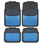 BDK Real Heavy Duty Metallic Rubber Mats for Car SUV and Truck (Blue Black) – All Weather Protection, Trimmable
