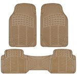 BDK Heavy Duty Rubber Floor Mats for Auto – All Weather Protection Liners 3 PC Set (Tan Beige)
