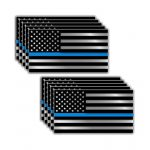10 pack of Thin Blue Line Police Officer BLM American Flag vinyl decal sticker Car Truck 3″ x 5.5″