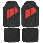 Motor Trend FlexTough 2 Tone Rubber Car Floor Mats for Auto – Heavy Duty All Season Black & Red