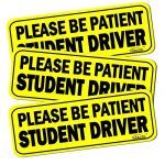 "GAMPRO Set of 3 ""Please Be Patient Student Driver"" Reflective Vehicle Bumper Magnet, Reflective Vehicle Car Sign Sticker Bumper for New Drivers, Reduce Road Rage and Accidents for Rookie Drivers"