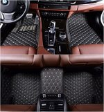 Okutech Custom Fit XPE Leather 3D Full Surrounded Waterproof Car Floor Mats for Cadillac XTS 2013-2017,Black with gold stitching