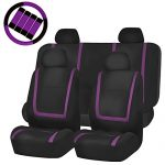 FH GROUP FH-FB032114 Unique Flat Cloth Full Set Car Seat Covers, Purple / Black with FH2033 Steering Wheel Cover and Seat Belt Pads- Fit Most Car, Truck, Suv, or Van
