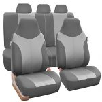 FH Group FB101GRAYGRAY115 Gray Supreme Twill Fabric High Back Car Seat Cover (Full Set Airbag Ready and Split Rear Bench)
