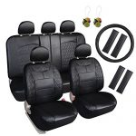 Leader Accessories Diamond II Auto Black Seat Cover Leather Set 17 pcs FREE Steering Wheel Cover and Air Fresheners