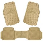 COPAP 3pcs Rubber Floor Mats Universal Fit Mat for Car SUV Van & Trucks Front & Rear (Beige)