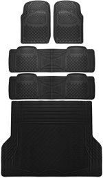 OxGord 5pc Rear Set Diamond Rubber Floor Mats, Universal Fit Mat for SUVs Vans- Rear Driver Passenger Side, Rear Runners and Trunk Liner Black