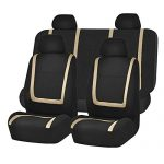 FH GROUP FH-FB032112 Unique Flat Cloth Full Sets Car Seat Cover w. Detachable Headrests and Solid Bench Beige / Black