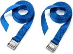 Two Pack of Premium Lashing Straps by Vault – 8 Ft Long – Rated 250 Lbs – Perfect Tie Down Strap for Kayaks Carriers, Moving Canoes, and Roof Racks – Great Accessory to Go With Ratchet Tie-Downs