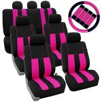 FH GROUP FH-FB036217 + FH GROUP FH2033 Three Row Combo Set: Striking Striped Seat Covers with Premium Carpet Floor Mats Pink / Black Color- Fit Most Car, Truck, Suv, or Van