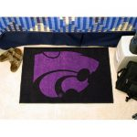 Logo Floor Mat w Officially Licensed K-State Wildcat In Purple On Black