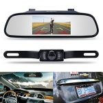Backup Camera and Monitor Kit,Chuanganzhuo 4.3″ Car Vehicle Rearview Mirror Monitor for DVD/VCR/Car Reverse Camera + CMOS Rear-view License Plate Car Rear Backup Parking Camera With 7 LED Night Vision