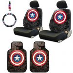 New Design 8 Pieces Marvel Comic Captain America Car Seat Covers Floor Mats and Steering Wheel Cover Set with Travel Size Purple Slice