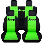 Fits 2015 to 2016 Jeep Wrangler 4 Door Paw Print Seat Covers 21 Color Options (Black and Lime Green)