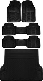 OxGord 5pc Rear Set Ridged Rubber Floor Mats, Universal Fit Mat for SUVs Vans- Rear Driver Passenger Side, Rear Runners and Trunk Liner Black