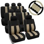 FH GROUP FH-FB036128 + FH GROUP FH2033 Three Row Combo Set: Striking Striped Seat Covers with Premium Carpet Floor Mats Beige / Black Color- Fit Most Car, Truck, Suv, or Van