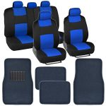 BDK Classic Full Set – Mesh Cloth Polyester Blue/Black Car Seat Covers & Carpet Floor Mats